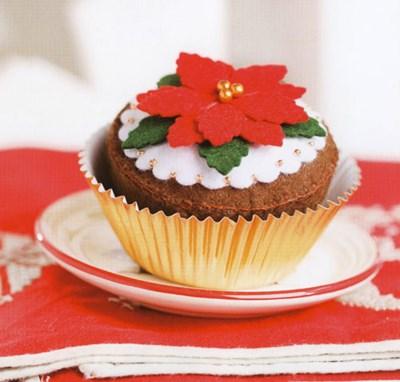 Vilt patroon Kerstcupcake