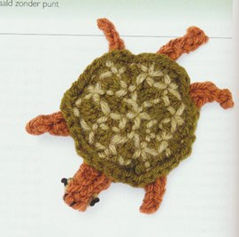 Gebreide zeeschildpad.