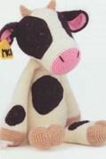 Gehaakte koe met oor label.