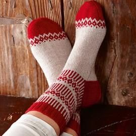 lang Yarns Breipatroon sokken in kerst kleuren, gebreid van het sokkenwol Lang Yarns Jawoll. De sokken worden gebreid op naalden dikte 2,5-3