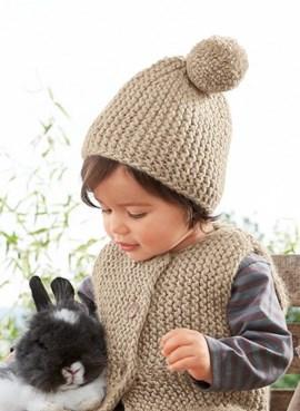 Mouwloos vest en muts voor de koude ....