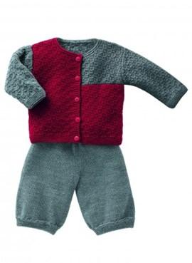 Vest en broekje met een speelse kleur ....