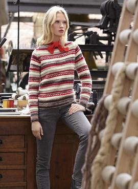 Gebreide trui met jacquard patroon.