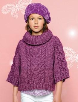 Breipatroon Poncho-trui en baret