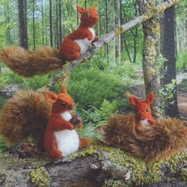 3 eekhoorn vriendjes van vilt.
